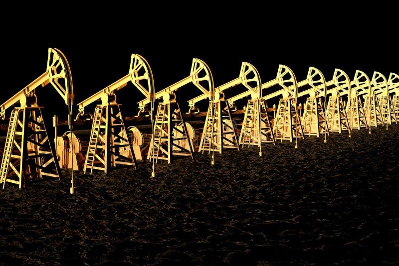 Το βιομηχανικό πετρέλαιο έννοιας απεικόνισης είναι οι μαύρες χρυσές, χρυσές πετρελαιοπηγές στη μαύρη θάλασσα πετρελαίου - τρισδιά διανυσματική απεικόνιση