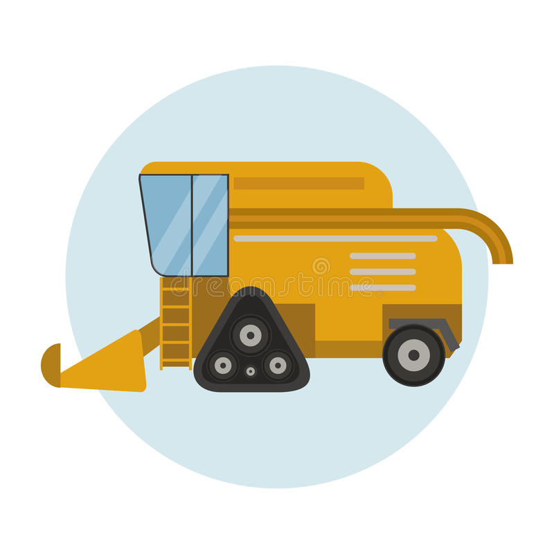 Το βιομηχανικό τρακτέρ μηχανημάτων αγροτικού εξοπλισμού γεωργίας συνδυάζει και κίτρινη αγροτική ρόδα συγκομιδής αυτοκινήτων καλαμ διανυσματική απεικόνιση