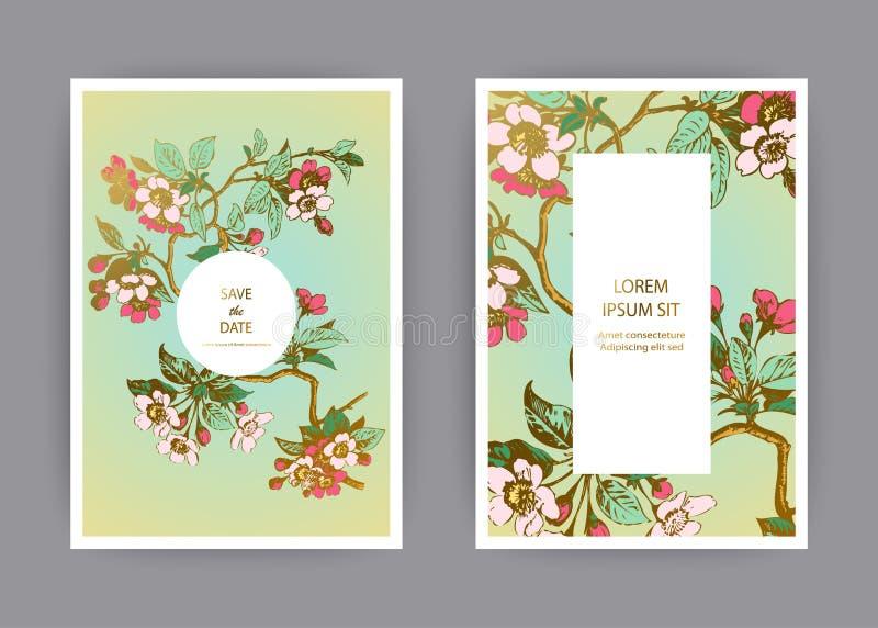 Το βοτανικό σχέδιο προτύπων καρτών γαμήλιας πρόσκλησης, συρμένο χέρι sakura ανθίζει και φεύγει στους κλάδους, εκλεκτής ποιότητας  απεικόνιση αποθεμάτων