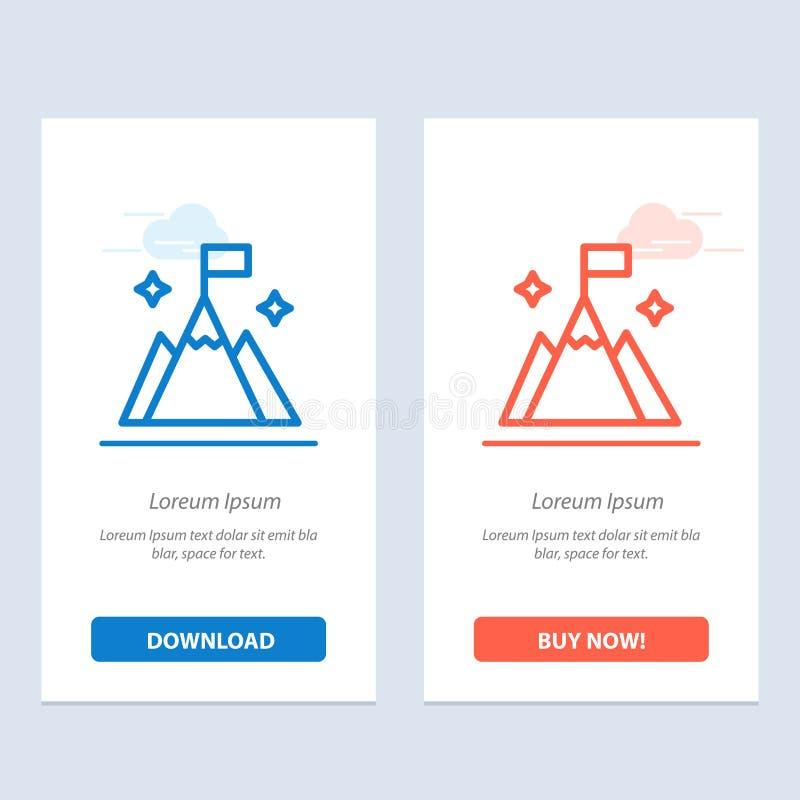 Το βουνό, σημαία, χρήστης, διασυνδέει το μπλε και το κόκκινο μεταφορτώνει και αγοράζει τώρα το πρότυπο καρτών Widget Ιστού απεικόνιση αποθεμάτων