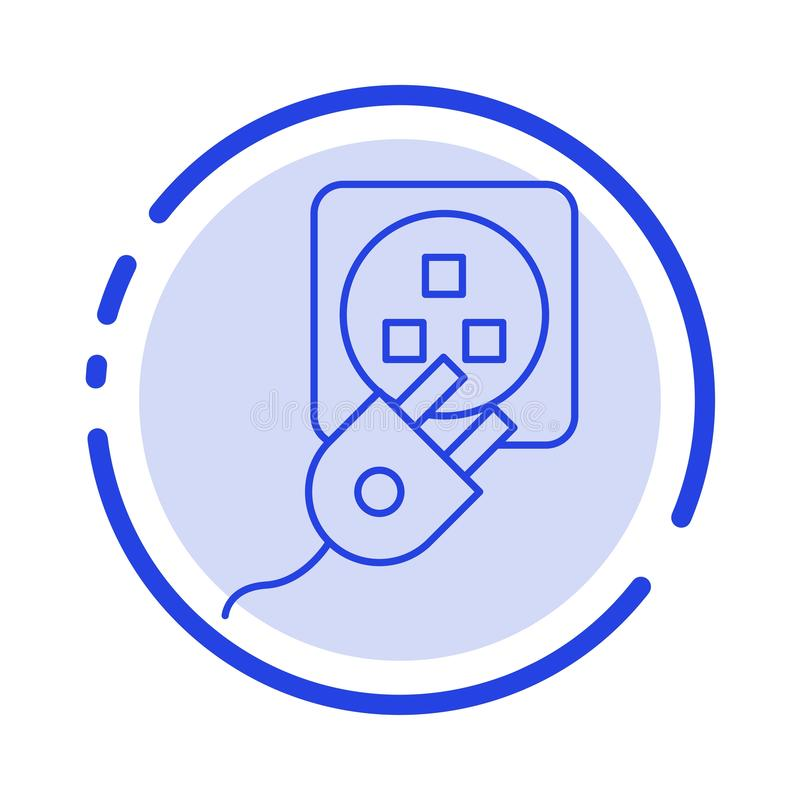 Το βούλωμα, ηλεκτρικός, ηλεκτρικό, σκοινί, χρεώνει το μπλε εικονίδιο γραμμών διαστιγμένων γραμμών διανυσματική απεικόνιση