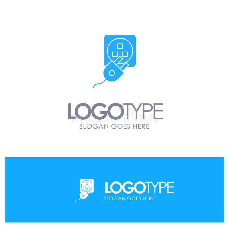 Το βούλωμα, ηλεκτρικός, ηλεκτρικό, σκοινί, χρεώνει το μπλε στερεό λογότυπο με τη θέση για το tagline ελεύθερη απεικόνιση δικαιώματος