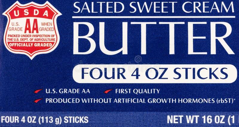 Το βούτυρο αλάτισε το γλυκό γαλακτοκομείο τροφίμων κρέμας USDA διανυσματική απεικόνιση
