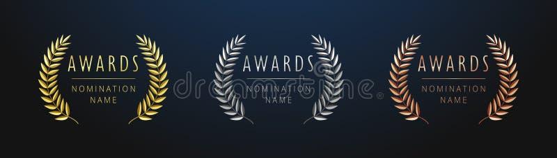 Το βραβείο υπογράφει το ένα δύο τρία διανυσματική απεικόνιση