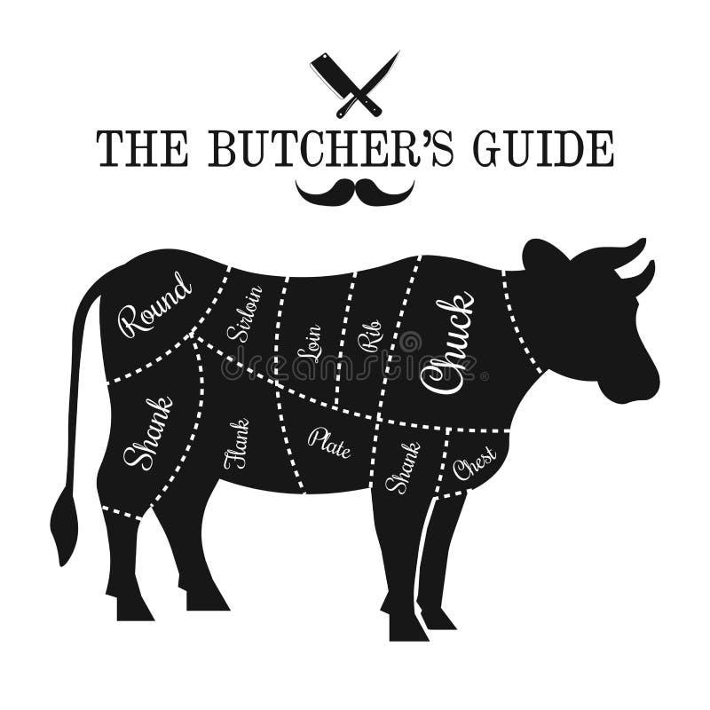 Το βόειο κρέας έκοψε τη γραφική αφίσα διαγραμμάτων γραμμών, οδηγός για το χασάπη διανυσματική απεικόνιση