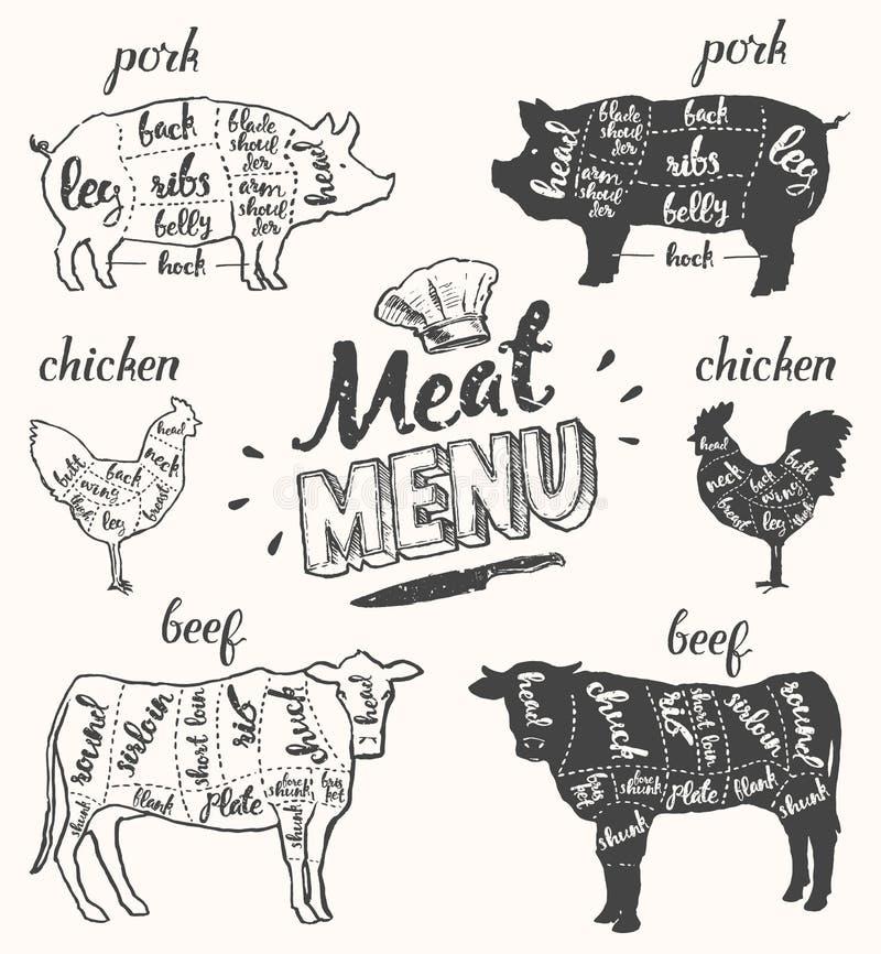 Το βόειο κρέας κοτόπουλου χοιρινού κρέατος επιλογών κρέατος κόβει συρμένο το χέρι διάνυσμα ελεύθερη απεικόνιση δικαιώματος