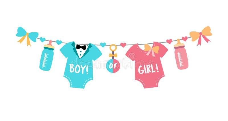 Το γένος αποκαλύπτει το κόμμα, το ντους μωρών, το αγόρι ή το κορίτσι ελεύθερη απεικόνιση δικαιώματος