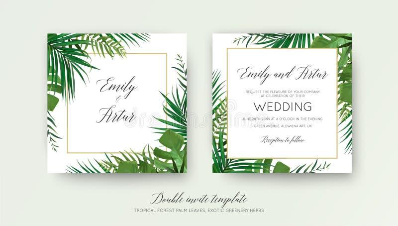 Το γαμήλιο floral διπλάσιο προσκαλεί το σχέδιο καρτών με το διανυσματικό watercolor απεικόνιση αποθεμάτων