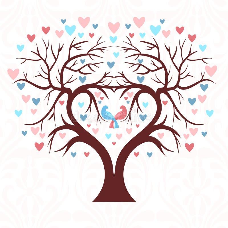 Το γαμήλιο δέντρο με μορφή μιας καρδιάς με δύο πουλιά στοκ εικόνες
