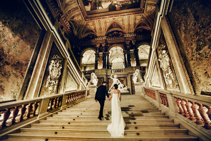 Το γαμήλιο ζεύγος πηγαίνει επάνω σε ένα παλαιό θέατρο στη Βιέννη στοκ εικόνες