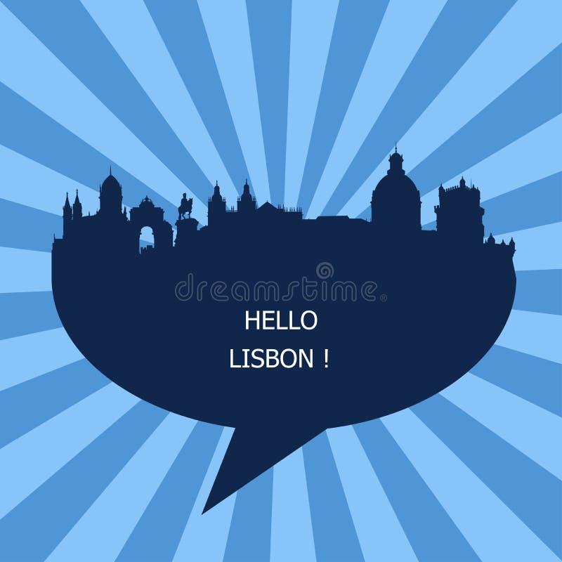 Το γειά σου έμβλημα της Λισσαβώνας, ταξίδι στην Πορτογαλία ελεύθερη απεικόνιση δικαιώματος