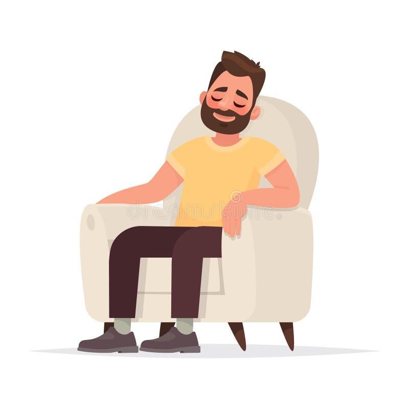 Το γενειοφόρο άτομο κάθεται σε μια πολυθρόνα και τους ύπνους Ένα πρόσωπο στηρίζεται ελεύθερη απεικόνιση δικαιώματος