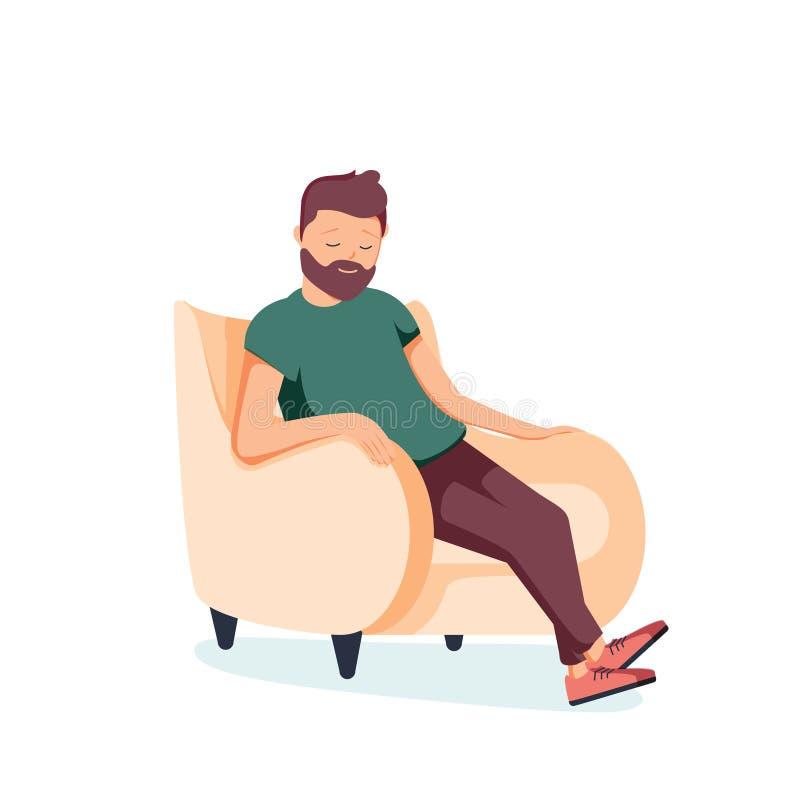 Το γενειοφόρο άτομο κάθεται σε μια πολυθρόνα και τους ύπνους Ένα πρόσωπο στηρίζεται ή σκέφτεται για κάτι καλό επίσης corel σύρετε απεικόνιση αποθεμάτων