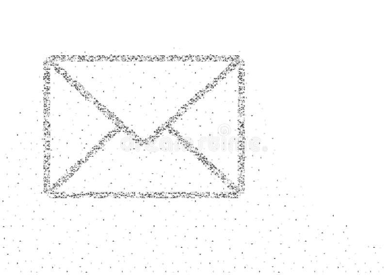 Το γεωμετρικά χαμηλά εικονοκύτταρο κιβωτίων πολυγώνων μορίων μορφής συμβόλων ηλεκτρονικού ταχυδρομείου τετραγωνικά και το σχέδιο  απεικόνιση αποθεμάτων