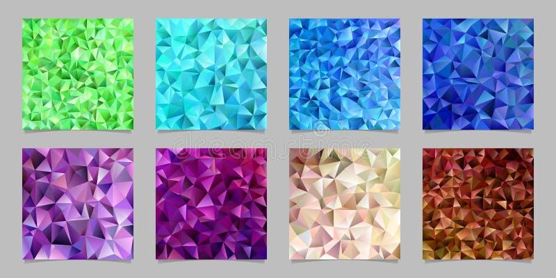 Το γεωμετρικό αφηρημένο χαοτικό υπόβαθρο σχεδίων τριγώνων έθεσε - μωσαϊκό διανυσματικό γραφικό σχέδιο από τα χρωματισμένα τρίγωνα ελεύθερη απεικόνιση δικαιώματος