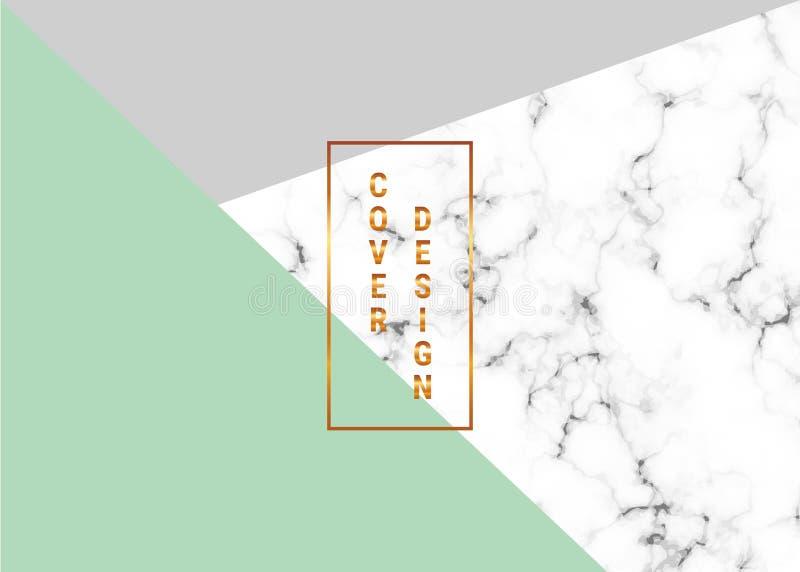 Το γεωμετρικό σχέδιο αφισσών κάλυψης με τη μαρμάρινη σύσταση και ο χρυσός ακτινοβολούν γραμμές, πράσινο, γκρίζο υπόβαθρο χρωμάτων ελεύθερη απεικόνιση δικαιώματος