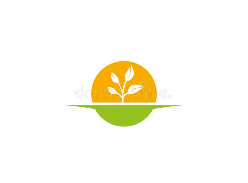 Το γεωργικές χώμα και οι εγκαταστάσεις με το μεγάλο ήλιο για την καλλιέργεια των ηλιακών εγκαταστάσεων για το λογότυπο σχεδιάζουν ελεύθερη απεικόνιση δικαιώματος