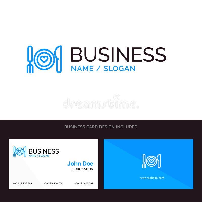 Το γεύμα, ρομαντικό, τρόφιμα, ημερομηνία, συνδέει το μπλε επιχειρησιακό λογότυπο και το πρότυπο επαγγελματικών καρτών Μπροστινό κ διανυσματική απεικόνιση