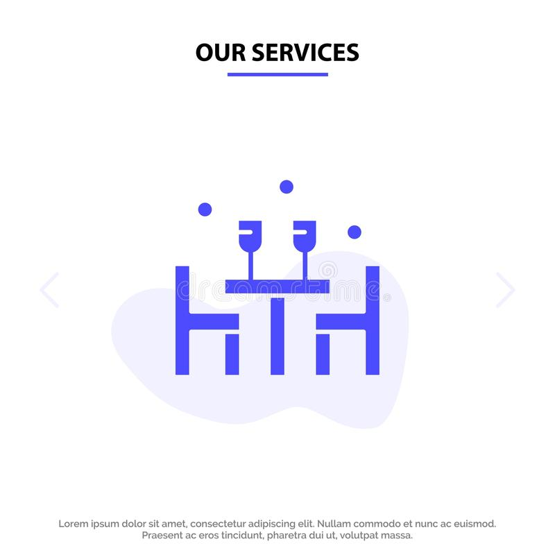 Το γεύμα υπηρεσιών μας, μεσημεριανό γεύμα, ρομαντικό, αγάπη, στερεό πρότυπο καρτών Ιστού εικονιδίων Glyph βαλεντίνων διανυσματική απεικόνιση