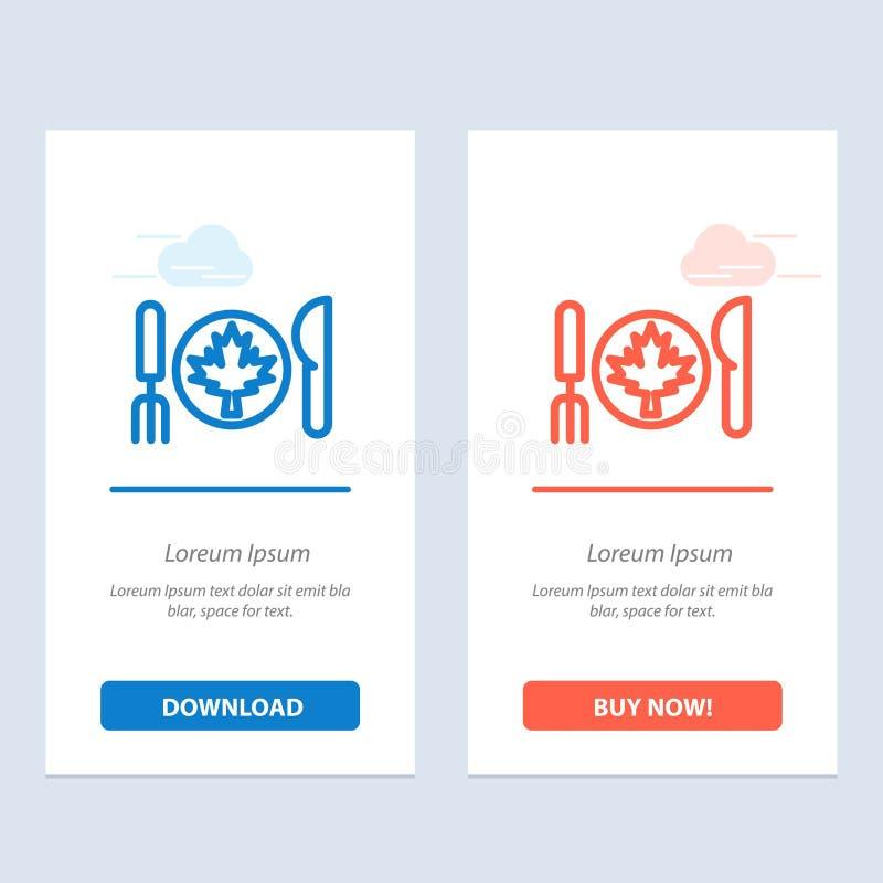 Το γεύμα, το φθινόπωρο, ο Καναδάς, το φύλλο μπλε και το κόκκινο μεταφορτώνουν και αγοράζουν τώρα το πρότυπο καρτών Widget Ιστού απεικόνιση αποθεμάτων