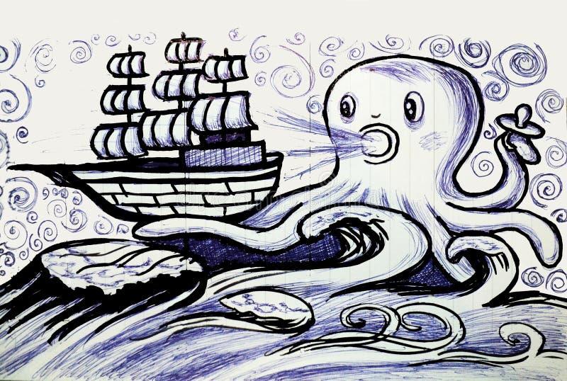 Το γιγαντιαίο χταπόδι πιάνει την παλαιά συρμένη χέρι απεικόνιση σκαφών πανιών ύφους ελεύθερη απεικόνιση δικαιώματος
