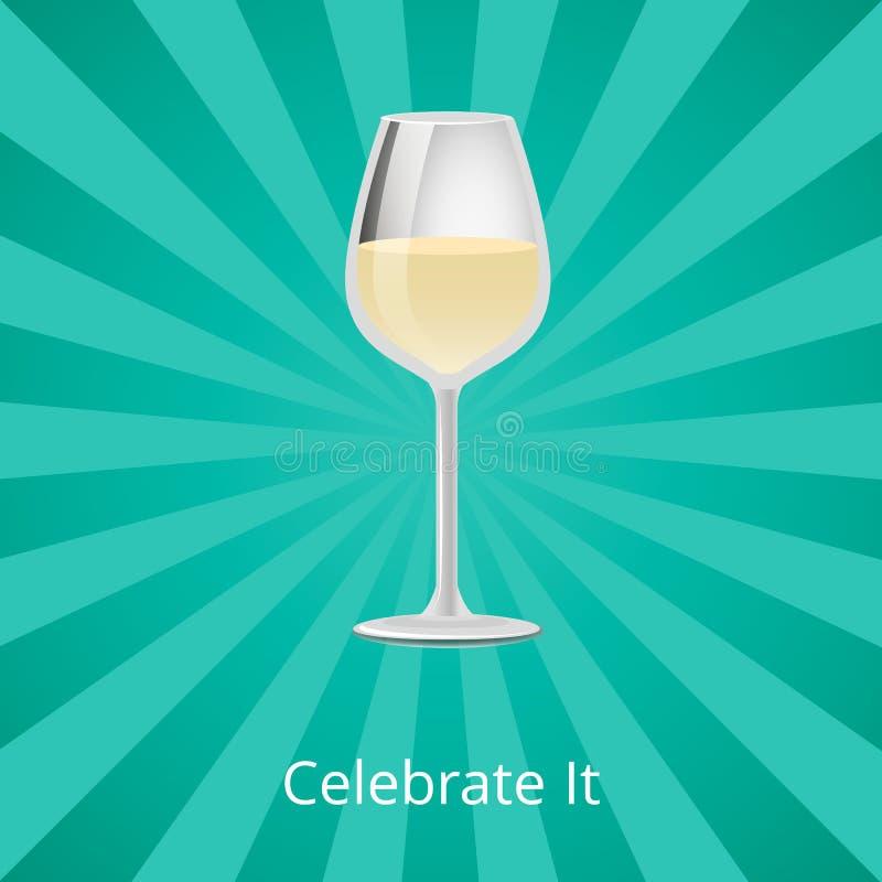 Το γιορτάστε ποτήρι του άσπρου κλασικού ποτού κρασιού διανυσματική απεικόνιση