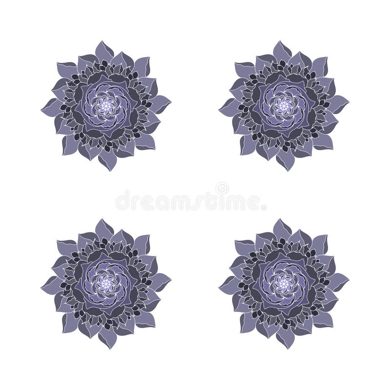 Το γκρίζο μαύρο λουλούδι αυξήθηκε διανυσματικές οργανικές εγκαταστάσεις λογότυπων έννοιας Αναδρομικό στοιχείο σχεδίου άνοιξης ή κ απεικόνιση αποθεμάτων