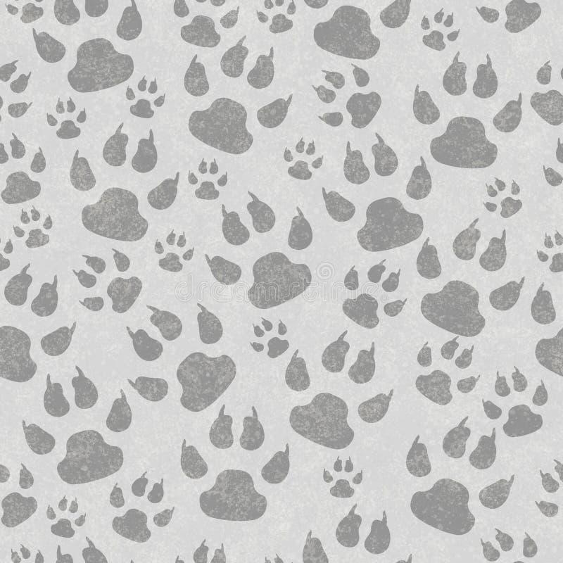 Το γκρίζο πόδι γατών τυπώνει το άνευ ραφής υπόβαθρο σχεδίων στοκ εικόνα