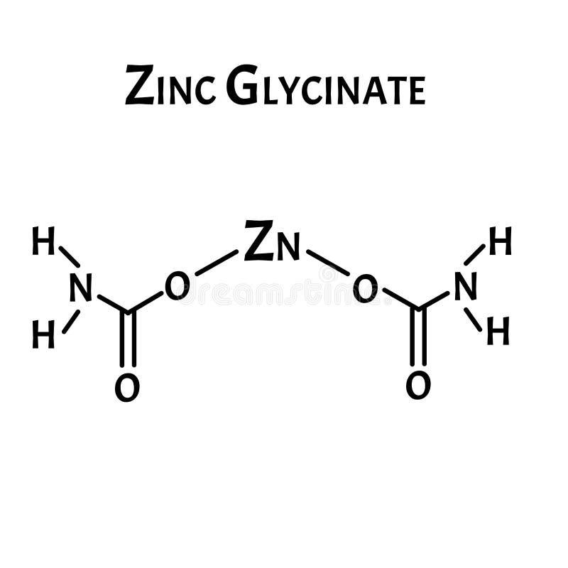 Το γλυκινικό ψευδάργυρο είναι ένας μοριακός χημικός τύπος Γραφικά ψευδαργύρου Απεικόνιση διανύσματος σε απομονωμένο φόντο διανυσματική απεικόνιση