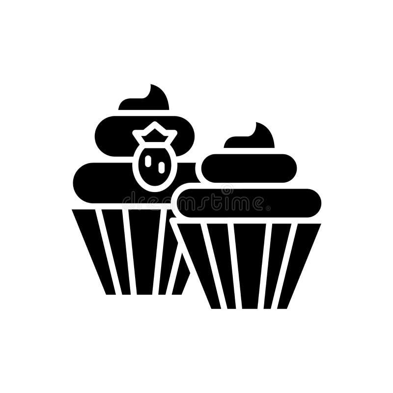 Το γλυκό μεταχειρίζεται τη μαύρη έννοια εικονιδίων Το γλυκό μεταχειρίζεται το επίπεδο διανυσματικό σύμβολο, σημάδι, απεικόνιση ελεύθερη απεικόνιση δικαιώματος