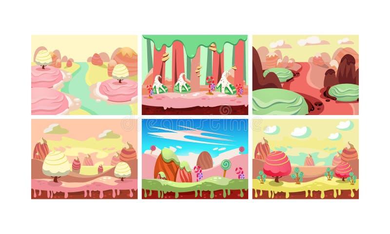 Το γλυκό σύνολο τοπίων φαντασίας, έδαφος καραμελών, στοιχεία για το παιχνίδι στον υπολογιστή διασυνδέει τη διανυσματική απεικόνισ ελεύθερη απεικόνιση δικαιώματος