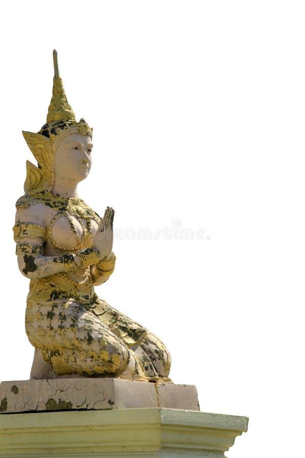 Το γλυπτό στόκων Θεών ή αγγέλων διακοσμεί στον ταϊλανδικό ναό απομονώνει στοκ εικόνα