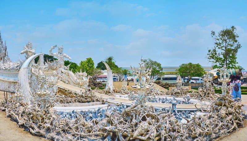 Το γλυπτό της κόλασης στον άσπρο ναό, Chiang Rai, Ταϊλάνδη στοκ φωτογραφία με δικαίωμα ελεύθερης χρήσης