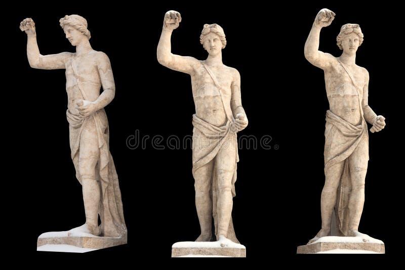 Το γλυπτό του Θεού Apollon αρχαίου Έλληνα απομονώνει Εκλεκτής ποιότητας γλυπτική που τίθεται με την αρχαία μυθολογία της Ελλάδας στοκ εικόνα με δικαίωμα ελεύθερης χρήσης