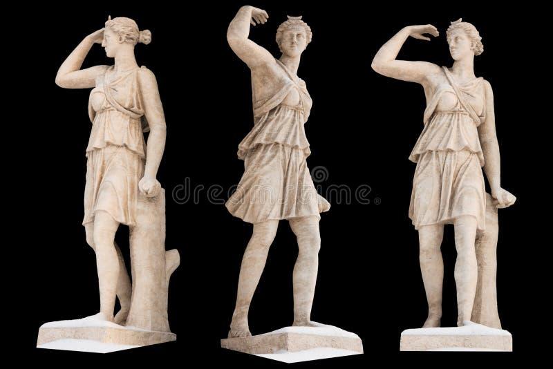 Το γλυπτό του Θεού Artemis αρχαίου Έλληνα απομονώνει Εκλεκτής ποιότητας γλυπτική που τίθεται με την αρχαία μυθολογία της Ελλάδας στοκ φωτογραφίες