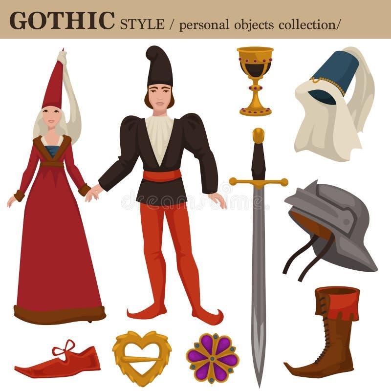 Το γοτθικό μεσαιωνικό ύφος μόδας 14 αιώνα ευρωπαϊκό παλαιό αναδρομικό του άνδρα και της γυναίκας ντύνει τα ενδύματα και τα προσωπ ελεύθερη απεικόνιση δικαιώματος