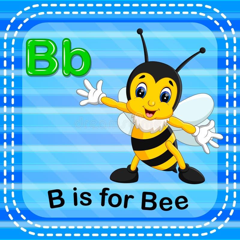 Το γράμμα Β Flashcard είναι για τη μέλισσα ελεύθερη απεικόνιση δικαιώματος