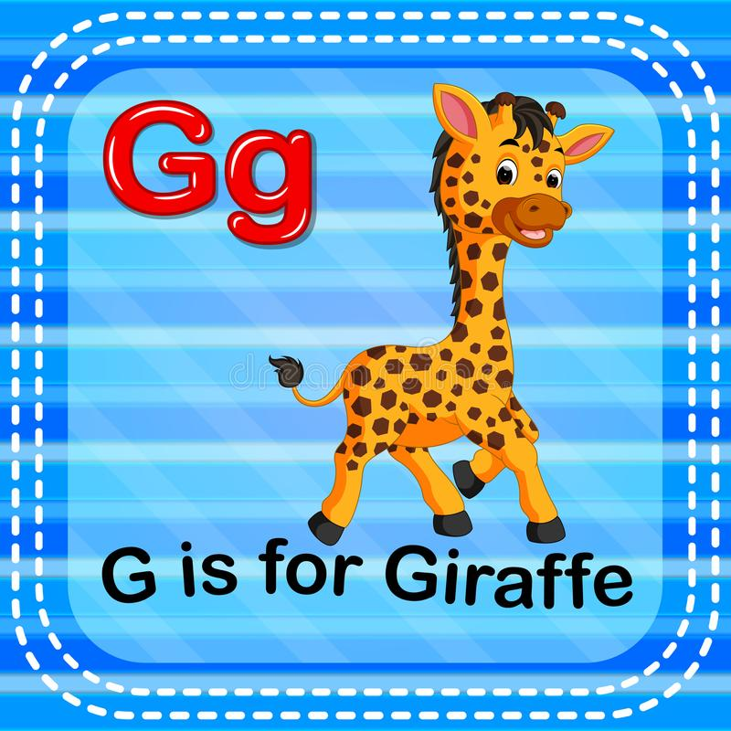 Το γράμμα Γ Flashcard είναι για giraffe ελεύθερη απεικόνιση δικαιώματος