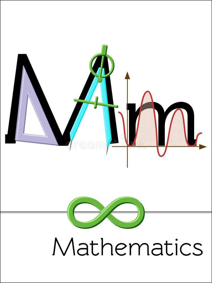 Το γράμμα Μ καρτών λάμψης είναι για τα μαθηματικά διανυσματική απεικόνιση