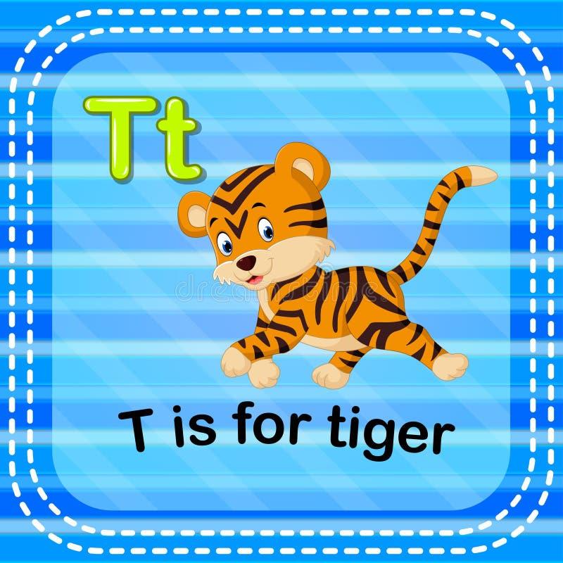 Το γράμμα Τ Flashcard είναι για την τίγρη ελεύθερη απεικόνιση δικαιώματος