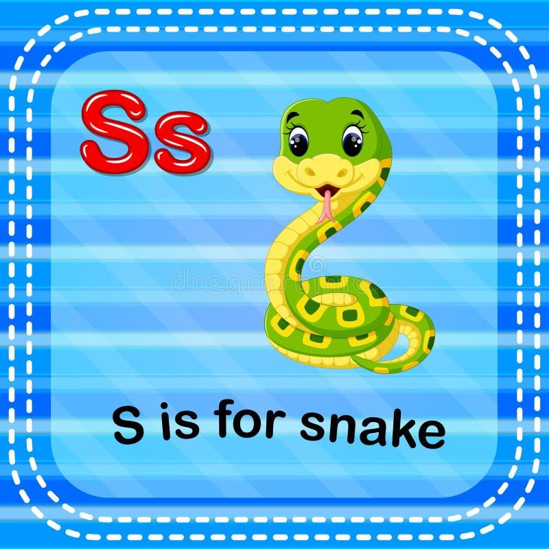 Το γράμμα S Flashcard είναι για το φίδι διανυσματική απεικόνιση