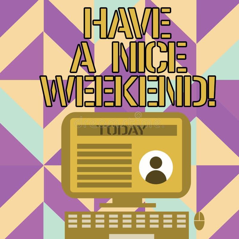 Το γράψιμο κειμένων γραφής έχει ένα Σαββατοκύριακο της Νίκαιας Σημασία έννοιας που εύχεται σε κάποιο ότι κάτι συμπαθητικό συμβαίν απεικόνιση αποθεμάτων