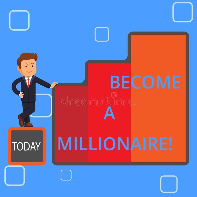 Το γράψιμο κειμένων γραφής γίνεται εκατομμυριούχος Έννοια που σημαίνει το άτομο ο του οποίου πλούτος είναι ίσος ή υπερβαίνει ένα  διανυσματική απεικόνιση