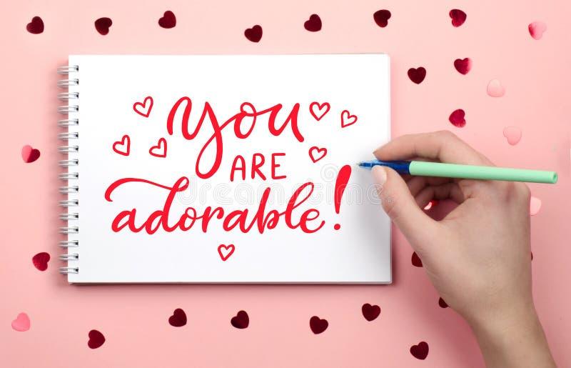 Το γράψιμο στο σημειωματάριο αγαπημένος σας Εγγραφή, καλλιγραφία στοκ φωτογραφία με δικαίωμα ελεύθερης χρήσης