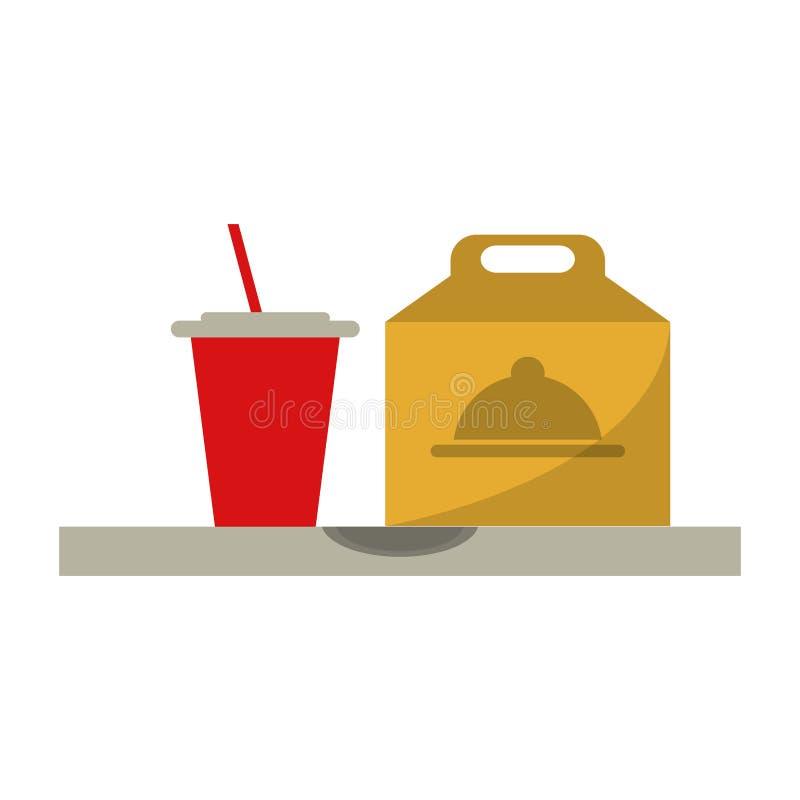 Το γρήγορο φαγητό παίρνει έξω το κιβώτιο και την πλαστική σόδα φλυτζανιών διανυσματική απεικόνιση