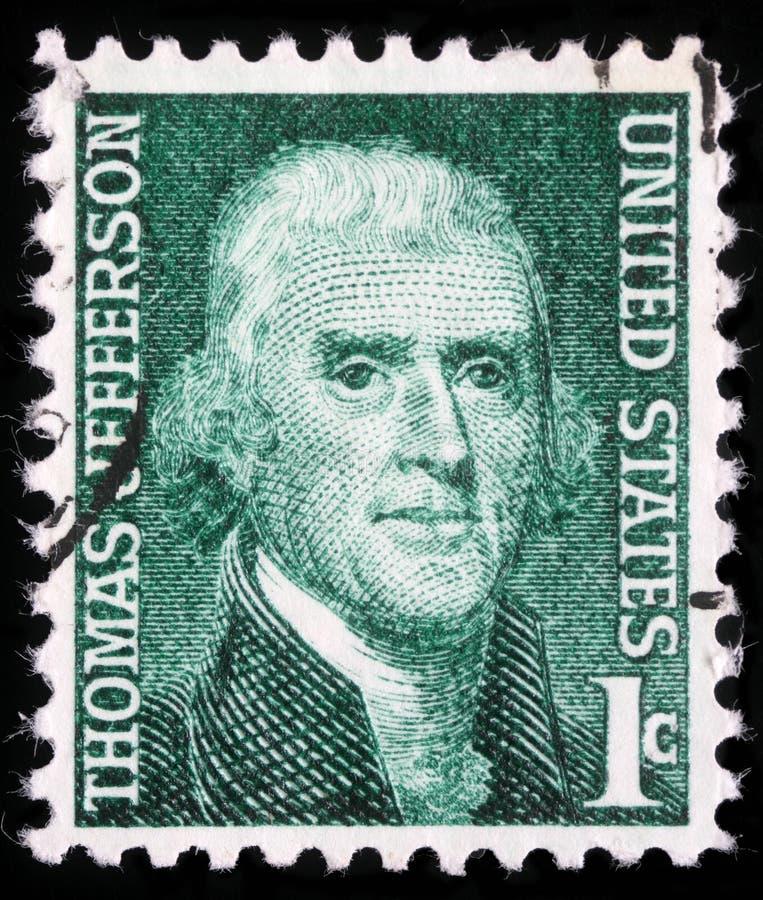 Το γραμματόσημο παρουσιάζει πορτρέτο εικόνας του Thomas Jefferson στοκ εικόνες