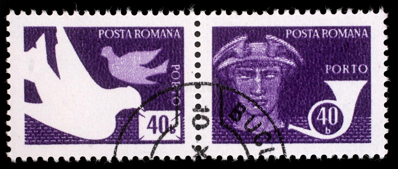 Το γραμματόσημο που τυπώνεται στη Ρουμανία παρουσιάζει περιστέρια, υδράργυρος Θεών, μετα κέρατο στοκ εικόνες