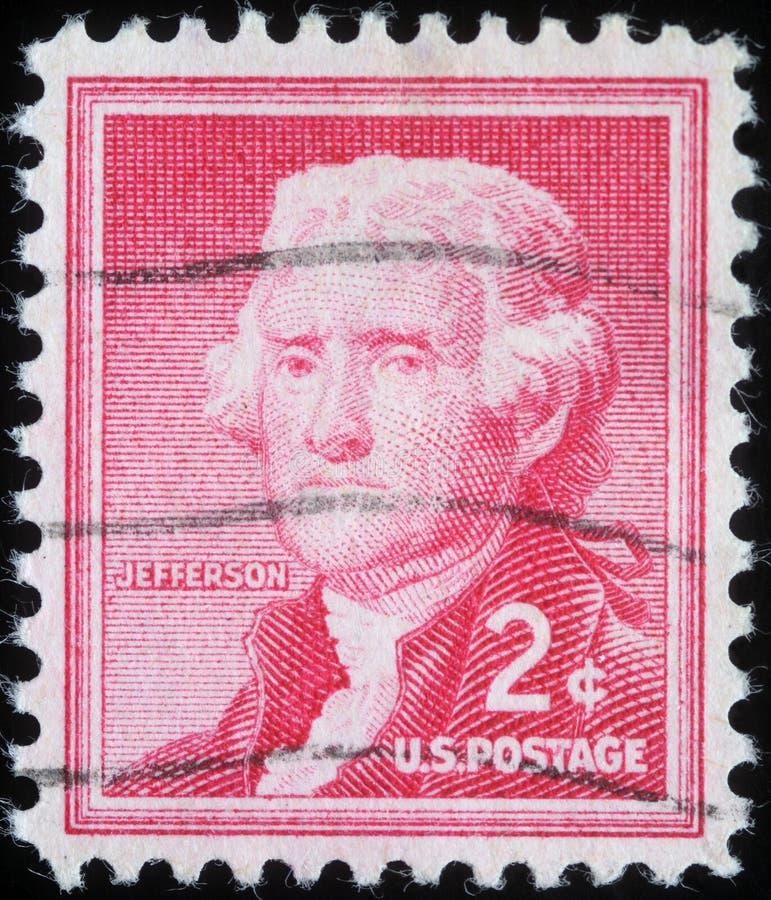 Το γραμματόσημο που τυπώνεται στις Ηνωμένες Πολιτείες της Αμερικής παρουσιάζει Thomas Jefferson στοκ εικόνα