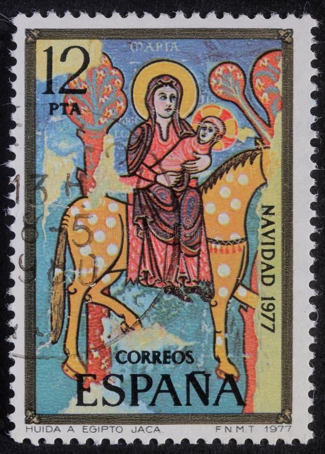Το γραμματόσημο Χριστουγέννων που τυπώνεται στην Ισπανία παρουσιάζει πτήση στην Αίγυπτο στοκ εικόνες