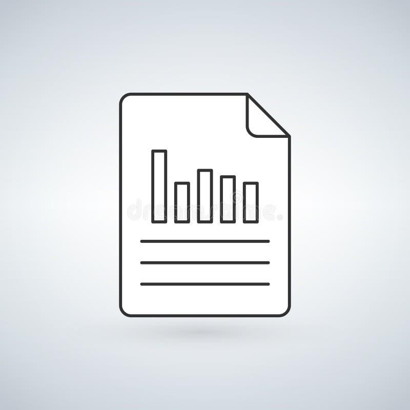Το γραμμικό έγγραφο διαγραμμάτων γέμισε το εικονίδιο περιλήψεων, διανυσματικό σημάδι γραμμών, γραμμικό δίχρωμο εικονόγραμμα που α απεικόνιση αποθεμάτων